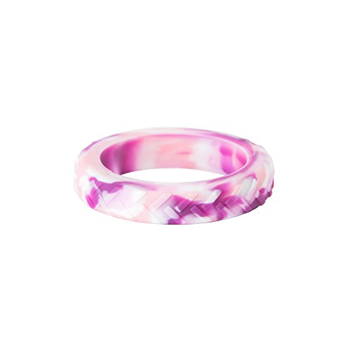 Chewigem Strong, Textured, Discreet, Child Bracelet & Sensory Aid - for Anxiety Reduction & Improved Focus. Sensory Processing Difficulties - Autism - ADHD (Tread Fidget & Chew Bangle - Pink Camo)