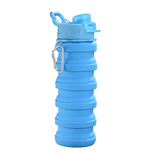 VusiElag Botella de agua deportiva de silicona para zumo de frutas con tapa, portátil, plegable, a prueba de fugas,para senderismo, viajes, gimnasio, deportes al aire libre,botella (500 ml)