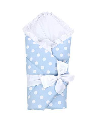 TupTam Unisex Baby Einschlagdecke mit Schleife, Farbe: Tupfen Blau, Größe: 70 x 70 cm