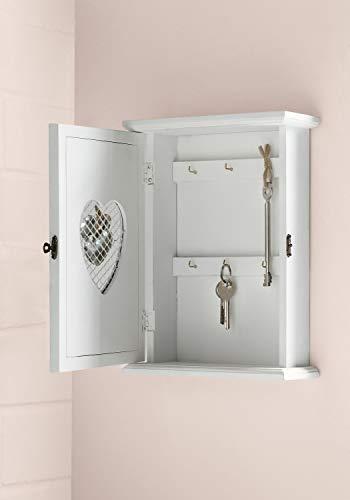 Boîte à clés Coeur blanc, style campagnard, 6 crochets en métal, crochet pour suspension à l'arrière, bois laqué blanc mat décoré de petits coeurs en osier et ficelle