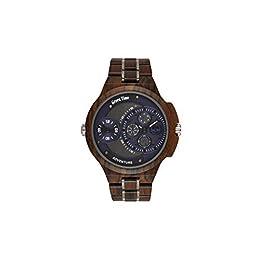Orologio e cinturino in legno Sandalo, quadrante blu/acciaio