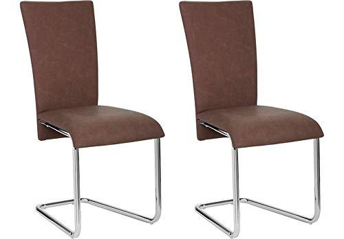 Homexperts schommelstoel set van 2 Mulan/cantilever zonder armleuning in modern design/imitatieleer/stoelen donkerbruin / 43 x 94 x 54 cm (B x H x D)