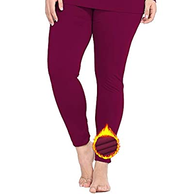NUONITA Women's Thermal Pants Plus Size Fleece Lined Leggings Underwear Ultra Soft Bottoms?XXXL?red? from NUONITA