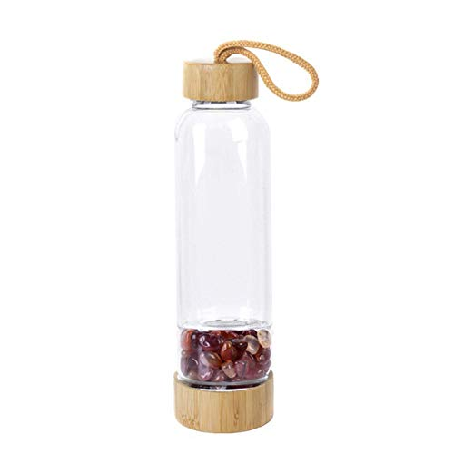 JNML Waterbeker Natuurlijke Kristal Kwarts Grind Edelsteen Healing Glas Energiedrank Waterfles Bamboe glazen beker cadeau, rode agaat