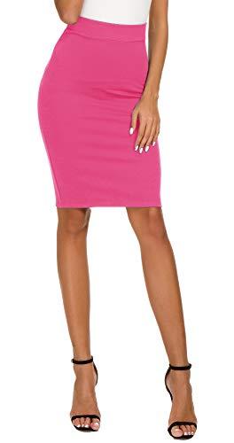 Women's High Waist Bodycon Midi Pencil Skirt (L, Rose)