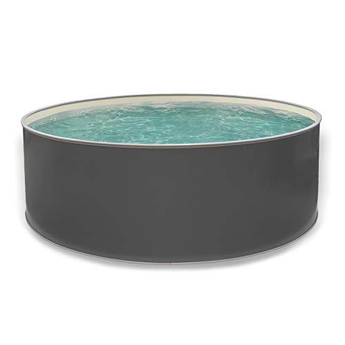 Paradies Pool® Edition grau Einzelbecken rund, 400x120cm (Ø x H), Stahlwandbecken grau, Poolplane in Sand 0,6mm, Handlauf grau, inkl. Skimmer-Set, Swimmingpool, Menge: 1 Stück