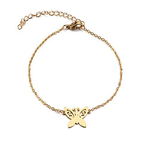 Armbänder Armband Armkette Edelstahl Armband Für Frauen Tattoo Schmetterling Gold Und Silber Farbe Pulseira Feminina Liebhaber Engagement Schmuck