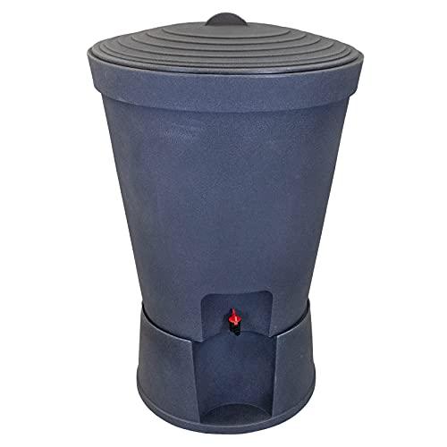 DRULINE Regentonne 300 Liter Kunststoff Schwarz Regenwassertonne Regenbehälter Regentank Rainsaver Wassertank Weithalsfass Regenfass Weithalstonne robustem Monoblock Stand Wasserhahn und Deckel