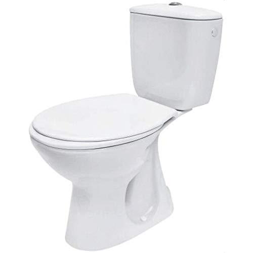 VBChome Keramik Stand- WC Toilette Komplett -Design- Set mit Spülkasten WC- Sitz aus Duroplast für senkrechten Standard Abgang Wasseranschluss Atlantic