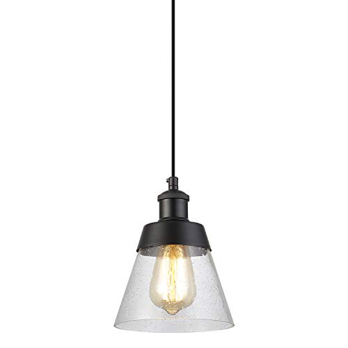 Industrial Glass Pendant Light with Handblown Clear Seeded Glass Shade, One-Light Adjustable Rustic Mini Pendant Lighting Fixture for Kitchen Island Cafe Bar Farmhouse, Black