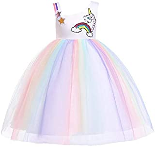 Girl Unicorn Flower Dress Birthday Party Pageant Princess Layred Tutu Dresses for 3-10Y