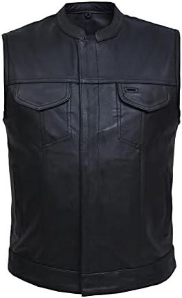 UNIK Men's Biker SOA Style Motorcyle Leather Club Vest,Black,5XL
