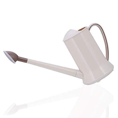 Regadera de gran capacidad de 2 litros, resistente boquilla larga, de plástico para interiores y exteriores, color beige