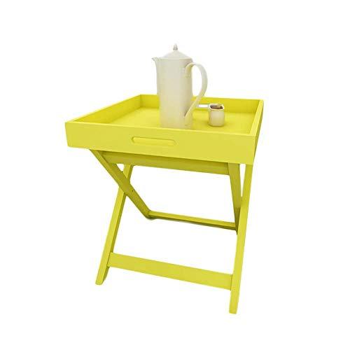XAJGW Table de Bout de Plateau Pliant en métal, glissière de Fauteuil sous la Table de Bout de canapé, Table de Console Ronde avec Rangement, Table Basse (Couleur : Le Jaune)