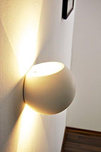 Wandleuchte Flot aus Keramik in Weiß, Wandlampe mit Up & Down-Effekt, 1 x G9-Fassung max. 33 Watt, Innenwandleuchte mit handelsüblichen Farben bemalbar, geeignet für LED Leuchtmittel
