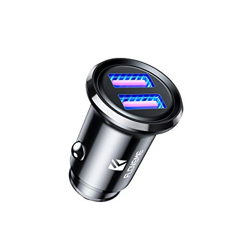 FLOVEME USB Car Charger - [All Metal] Dual QC 3.0 Port 36W/6A Fast Car Charger Adapter Mini Cigarette Lighter USB Charger Quick Charge Compatible with iPhone 11 Pro Max Xr X 6 7 8 Samsung S21 S20 S10