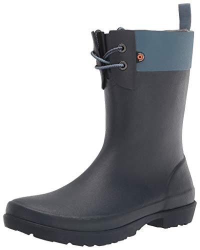 BOGS Women's Flora 2 Eye Boot Rain Shoe, Blue Denim, 10