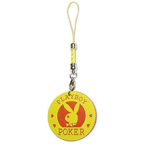 Pinkmarket - DSE160117 Colgante Adorno para móvil PLAYBOY tipo ficha de casino para personalizar. Modelo  Bunny poker. Color Amarillo