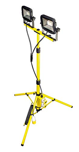 LUCECO Site 110 Volts Climate LED Twin Head Tripod Work Light with Outlet Sockets, 2 x 22 Watts, Yellow