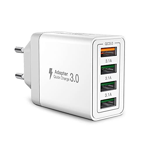 USB Ladegerät,Yosou 4-Ports USB Charger mit 33W Intelligent QC 3.0 Schnellladegerät Mehrfach Ladestecker USB Netzteil für iPhone 12 11 Pro SE 2020 X,Samsung Galaxy S21 S20 FE S10 S9 S8 A51 A71,Handy