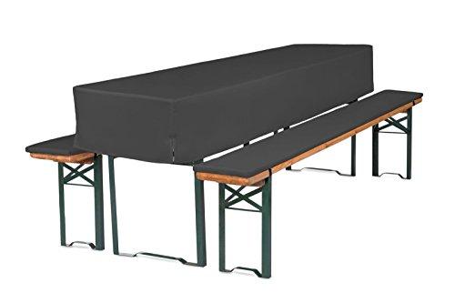 TexDeko GmbH Bierbankauflagen mit Tischhusse halblang für Bierzeltgarnitur 3TLG. Set (Schaumstoff Extra Stark RG30/50) (220x70x30cm) in Anthrazit