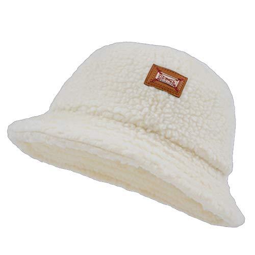HT LT Retro Cordero Peluche Sombrero Sombrero otoño Invierno Salvaje Grueso Cuenco Cuenca Sombrero Sombrero de Pescador,Blanco