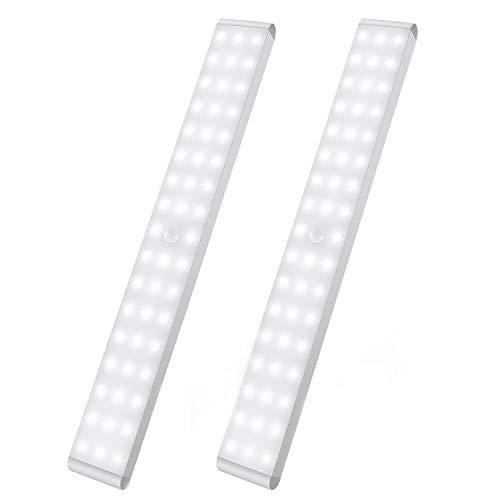 LED Sensor Licht 50 LEDs,Schrankbeleuchtung,Wiederaufladbar Dimmbare Schranklicht mit Bewegungsmelder,Intelligente LED Küchenleuchte,Weiches Licht für Kleiderschrank,Kofferraum,Treppe,RV(2 Stück)