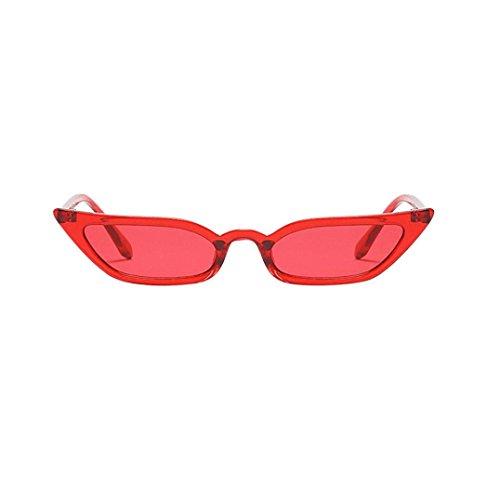 Lenfesh Frauen Vintage Katzenaugen-Sonnenbrille Retro kleine Rahmen UV400 Brillen Mode Damen (Rot)