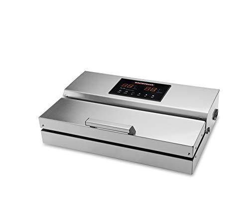 GASTROBACK 46017 Design Vakuumierer Advanced Professional Plus, Leistungsstarke Vakuumpumpe (20L/min, 0.9 bar) Herausnehmbare Vakuumkammer, 290 Watt, Edelstahl, silber