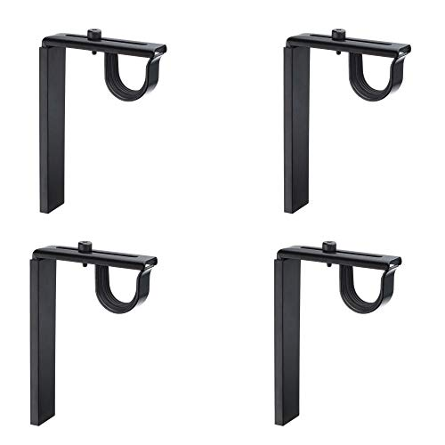 IKEA Betydlig Wall or Ceiling Curtain Rod Brackets Steel Adjustable (Set of 4, Without Expert Setup, Black)