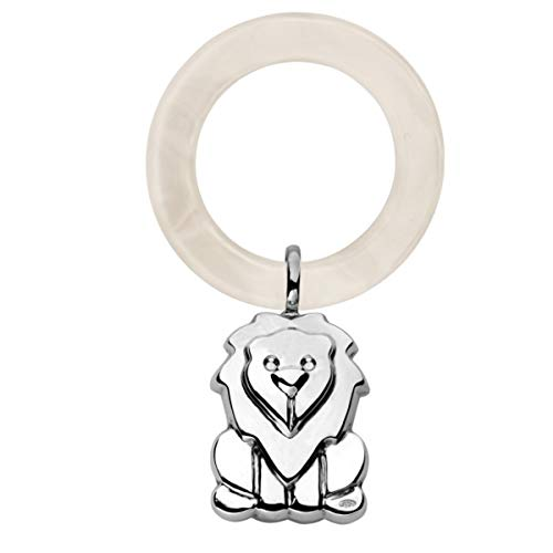 silberkanne Babyrassel Kinderrassel Löwe 10 cm 925 Silber in Premium Verarbeitung