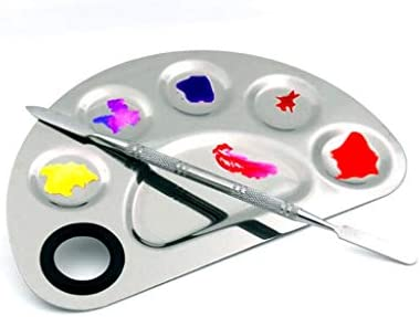 Aoshang Stainless Steel 6 Holes Makeup Palette Nail Art Polish Mixing Plate Cosmetic Artist product image