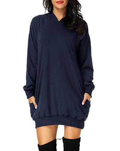 Auxo Damen Hoodie Kleid Pullover Langarm Sweatshirts Kapuzenpullover Tops Herbst Mini Kleid Marine Large