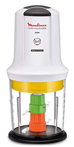 Moulinex Multimoulinette Picadora 6 en 1, 500 W, Polyester Plastic, 2 Velocidades, Blanco