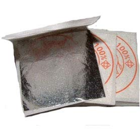 Premium Genuine Silver Leaf Sheets, Professional Quality, 50 Sheets, 2,4 inches (Loose Leaf/Interleaf Sheets) 100% Edible Silver