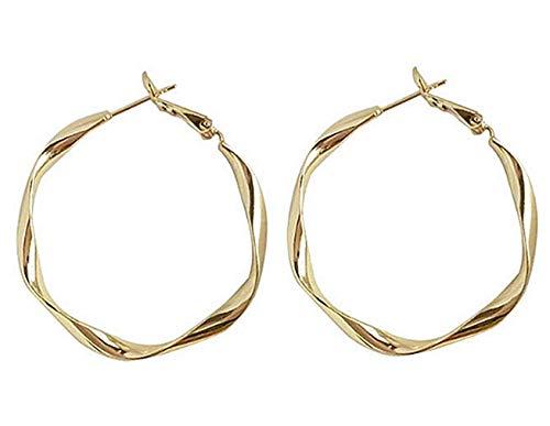 Pendientes aros grandes de plata de ley 925 aretes de chapado en oro de onda retorcida de joyería de moda para mujeres y niñas - Tamaño: 50 mm