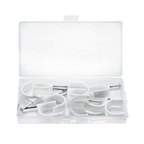 SENDILI 10 Piezas Grapas para Cables Redondo - Clip de Fixation con Clavo Grapas de Sujeción para Cable Eléctrico, 25mm /...