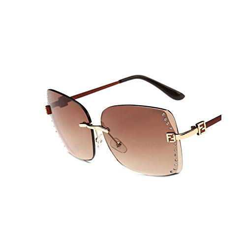 Klassische Sportsonnenbrille, New Big Frame Women Sunglasses Fashion Gradient Women Rimless Sun Glasses Female NEW Mirror UV400 Multi 02