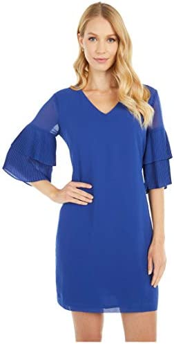 Sam Edelman Women s Pleated Sleeve Shift Dress Blueberry 12 product image
