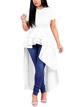 Lrady Women Ruffle High Low Asymmetrical Short Sleeve Peplum Tops Blouse Shirt Dress White 3XL