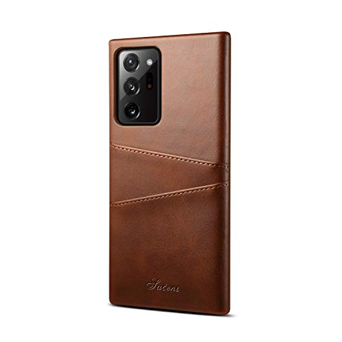 XRPow Wallet Case Note 20 Ultra with Credit Card Holder, Slim PU Leather Wallet Card Pocket Back Cover Shockproof Protective Case for Samsung Galaxy Note 20 Ultra 6.9inch - Brown
