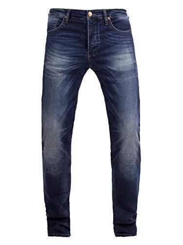 John Doe Ironehead XTM - Used Dark Blue | Motorradhose mit Kevlar | Einsetzbare Protektoren | Atmungsaktiv | Motorrad Jeans | Denim Jeans mit Stretch