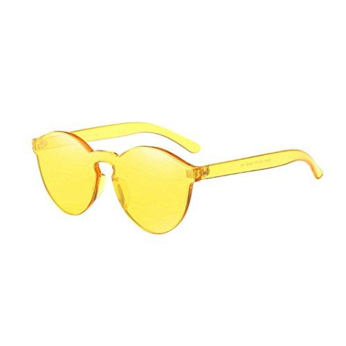 TUDUZ Damen Mode Katzenaugen Shades Sonnenbrille Design Integrierte UV Süßigkeit Farbige Gläser (Gelb)