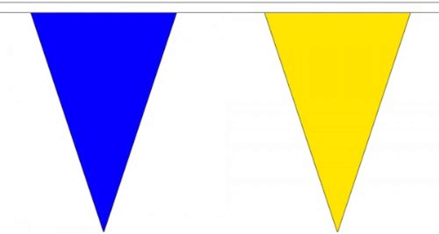 20 Metres 54 (11.75   x 7.5  ) Triangle Triangular Flag Royal bluee & Yellow 100% Polyester Material Bunting Ideal Party Decoration For Street House Pubs Clubs Schools Fete