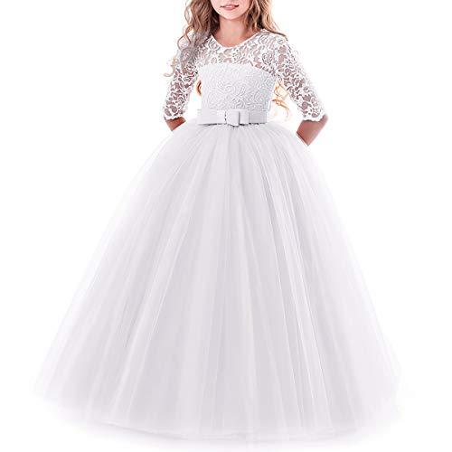 IBTOM CASTLE Brautjungfer Kleider für Mädchen Blumenmädchen Hochzeitskleid Lange Ärmel Schmetterling Festzug Spitze Weiß 9-10 Jahre
