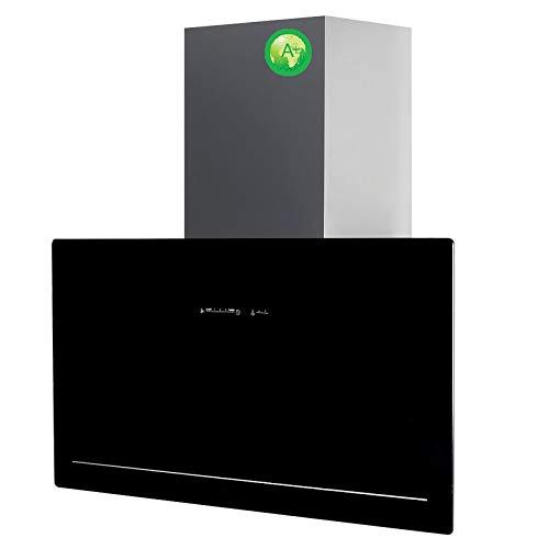 Allcata 90 cm GOIA BK A+ vertikale Dunstabzugshaube kopffrei schwarz Glas 5 Leistungsstufen mit Nachlaufautomatik LED-Beleuchtung 40 dB(A) bis 1200 (820) m³/h (90cm Abluft)