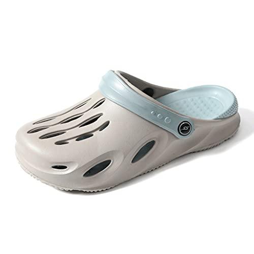 WAOUY Sandalias de ducha para el baño, ligeras y antideslizantes, para la playa, piscina, para interiores, suela suave unisex (color: gris, tamaño: 41EU)