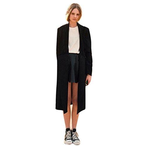 Trenchcoat dames, Dasongff gebreide jas met lange mouwen Trenchcoat lange jas jas waterval Cardigan gebreide jas overcoat effen XL ~ 5XL