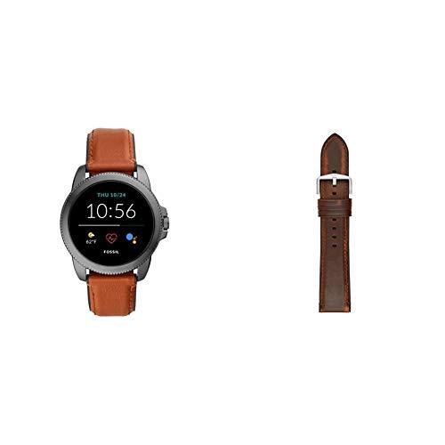 Fossil Connected Smartwatch Gen 5E para Hombre con tecnología Wear OS de Google, frecuencia cardíaca, GPS, NFC y notificaciones smartwatch, Cuero Marrón/Silicona Negro + Correa de Reloj S221299