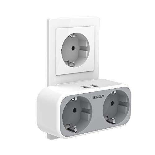 TESSAN USB Steckdose, 2 Steckdosen (4000W) mit 2 USB Anschluss (2.4A), 4-in-1 Steckdosenadapter mit USB Ladegerät, Doppelstecker mit Intelligent USB Stecker kompatibel für iPhone Smartphone Laptop
